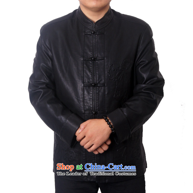 Mr Rafael Hui, the British men 15 new upscale male leather Tang dynasty PU fabric collar Chinese national leather jacket Tang dynasty older father gift 8820聽185 British-see lady deeply (sureyou) , , , shopping on the Internet