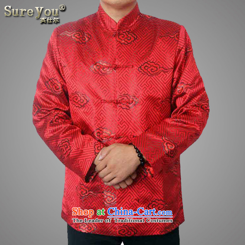 The Spring and Autumn Period and the older women and men in the new taxi couples with collar Chinese Birthday golden marriage Tang blouses long-sleeved sweater 1,221 men red?170