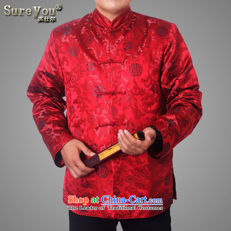 The Spring and Autumn Period and the new older women and men in Tang Dynasty taxi couples with collar Chinese Birthday golden marriage Tang blouses long-sleeved sweater 1365 deep red men?180