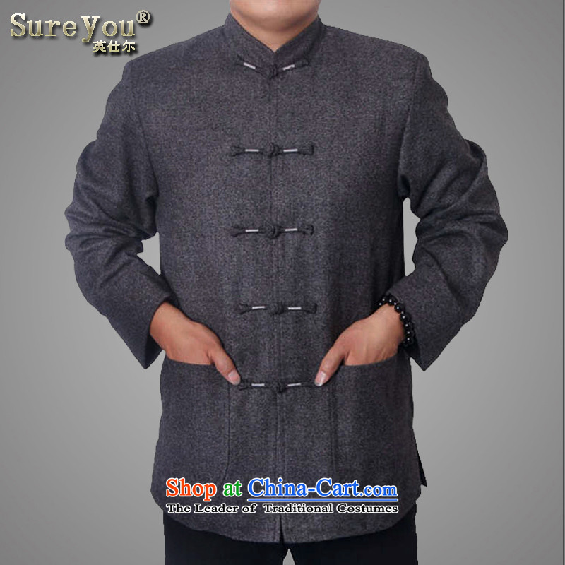 Mr Rafael Hui, the British men 15 new upscale male Tang Dynasty Chinese Nation collar Tang dynasty older jacket father gift 9821 Light Gray 180