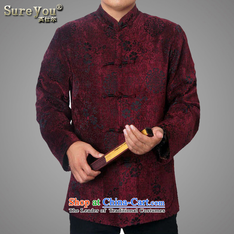 Mr Rafael Hui Ying 2015 men's new long-sleeved T-shirt and Tang dynasty in older autumn and winter coats explosions of Chinese Tang dynasty 9822 wine red聽175