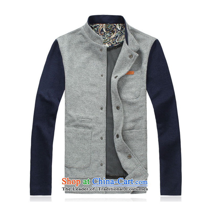 8vpro breesonly forest (Spring) Male Male Korean Sweater Sau San Cardigan collar spell checker to increase color jacket male?JK01?gray color navy?5XL spell checker