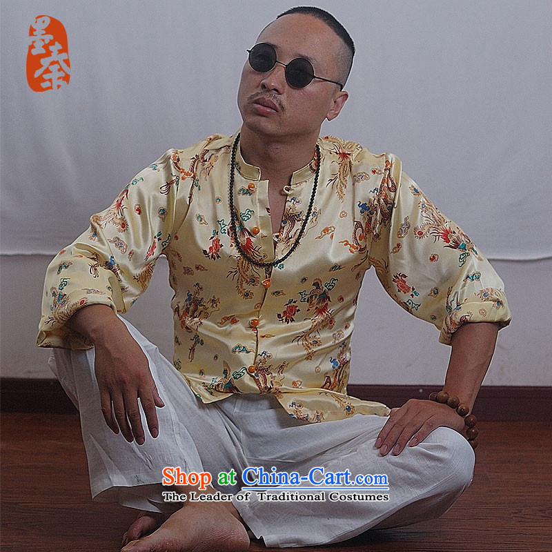 The qin designer original China wind silk and contemptuous of long-sleeved shirt zhenlong?XXL/ military unit 11233 yellow giant
