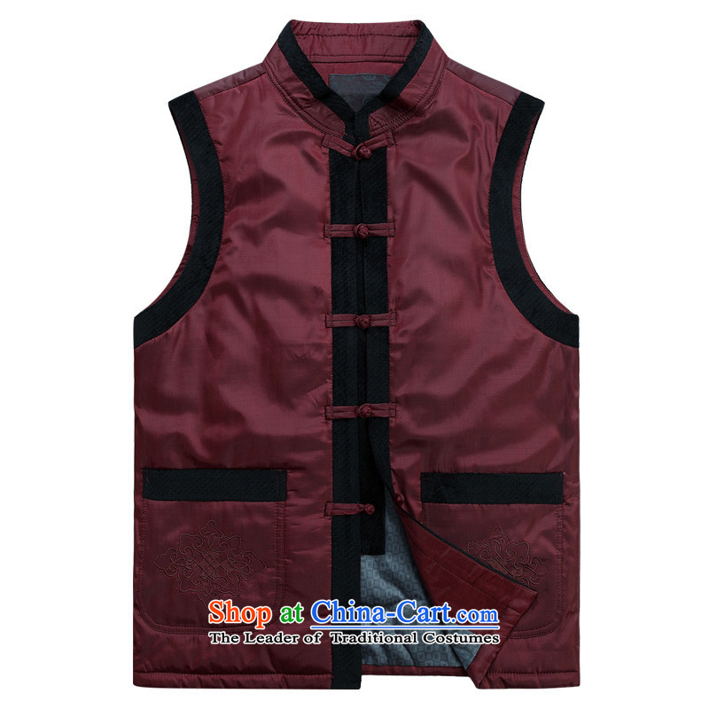 Charlene Choi this cabinet reshuffle is older men's winter clothing large lounge, a father of ethnic round-neck collar cotton vest in shoulder vest tray clip relaxd wild?3XL Red Jacket