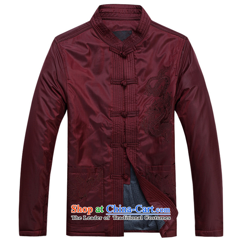 This new cabinet yeon middle-aged men Fall/Winter Collections Tang jackets large relaxd fit father T-shirt of ethnic leisure jacket embroidered dragon-buttoned, Red?4XL