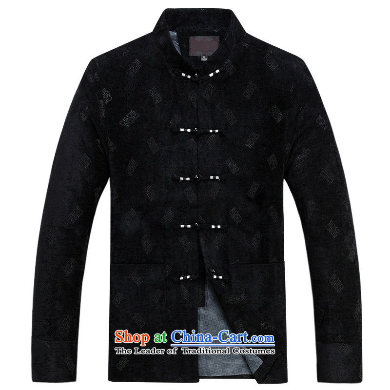Charlene Choi this cabinet reshuffle is older men fall/winter collections of ethnic Tang blouses collar disc detained father large relaxd casual jacket coat traditional Chinese clothing black?4XL