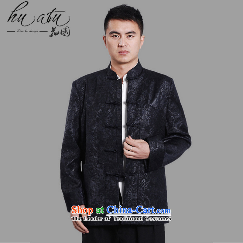 Floral autumn and winter new men in Tang Dynasty Chinese tunic load dad older collar plus thin cotton ironing spend long-sleeved sweater�-A DARK BLUE燲XL