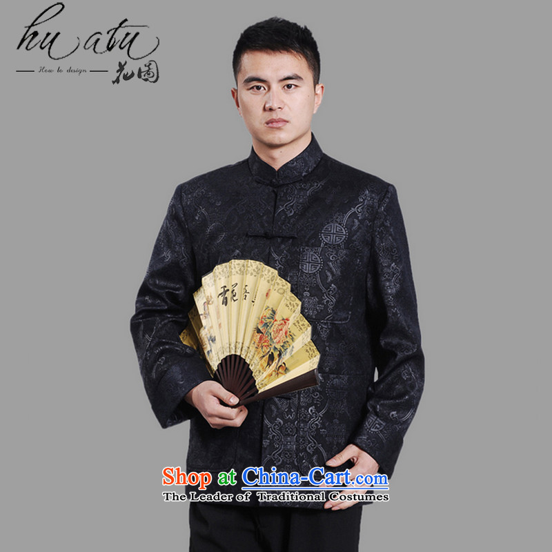 Floral autumn and winter new men in Tang Dynasty Chinese tunic load dad older collar plus thin cotton ironing spend long-sleeved sweater聽-A DARK BLUE聽XXL, floral shopping on the Internet has been pressed.