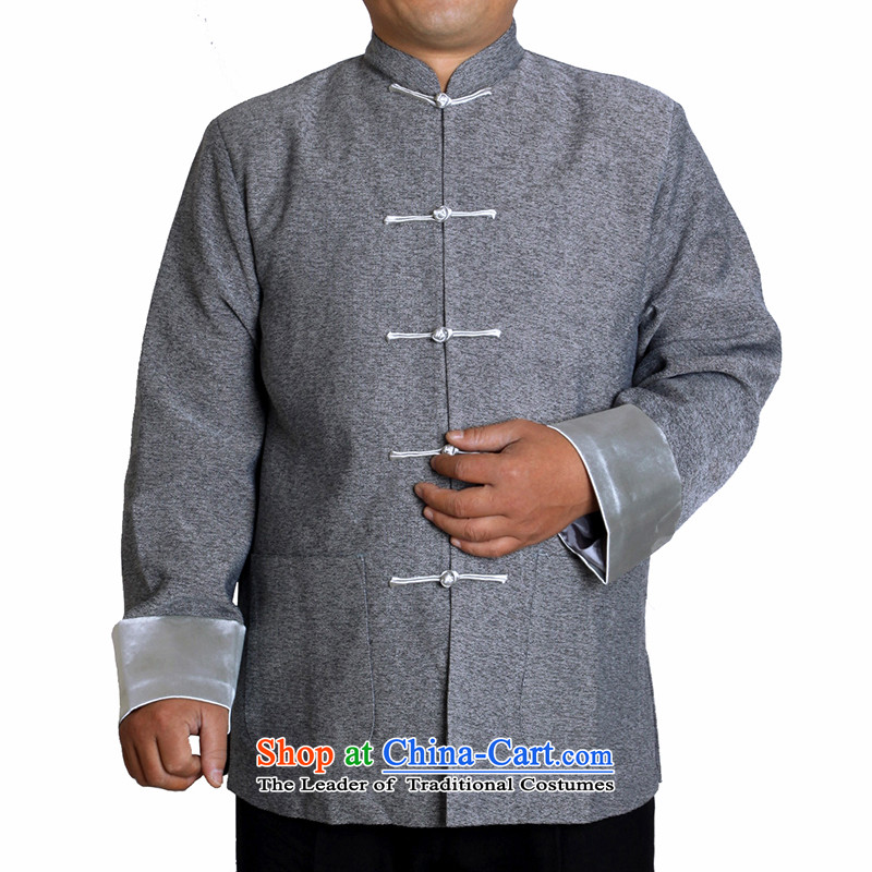 The Cave of the elderly in the autumn and winter 15 elderly men ma blended leisure Tang dynasty father pure color jacket T0308 collar gray�180 code