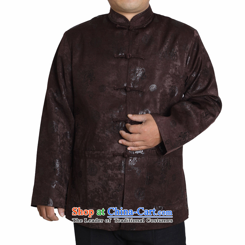 The Cave of the elderly聽15 autumn and winter in the new elderly men long-sleeved leisure Tang China Wind Jacket men T1225 T1225 Brown聽185 yards