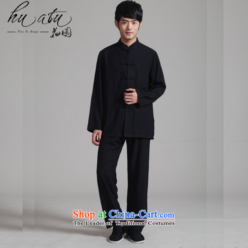 It fall inside the New Men's Mock-Neck to long-sleeved gown Kung Fu Tang dynasty cotton linen tai chi services will set - 1 Black XL