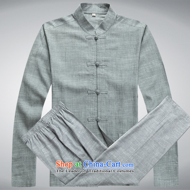 Hei concentric聽2015 spring outfits Tang dynasty Long-sleeve cotton linen men Tang Dynasty Package Set of long-sleeved gray聽L