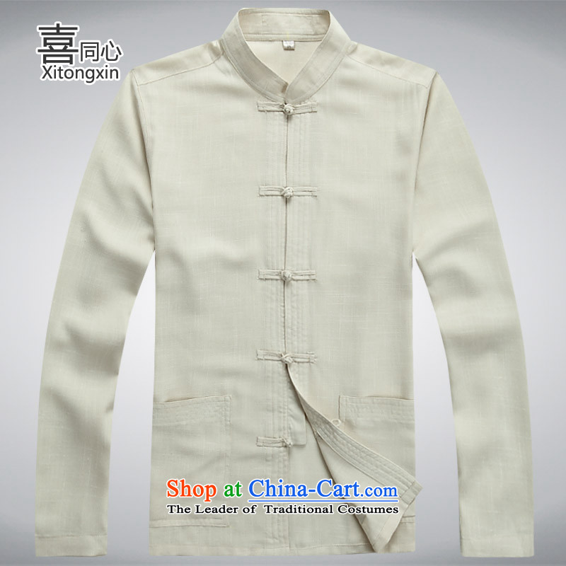 Hei concentric聽2015 Fall_Winter Collections of new products with Father Tang dynasty China wind beige聽XL