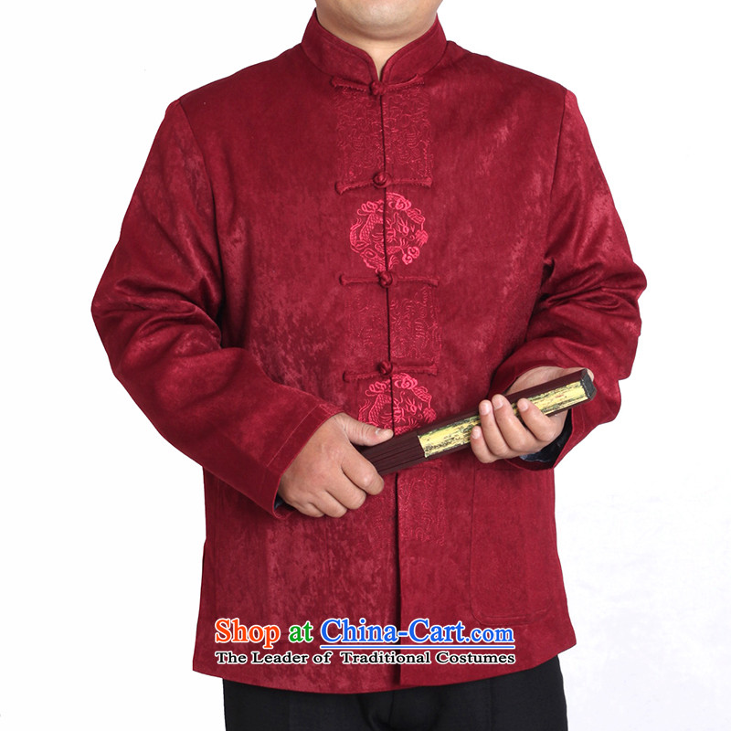 The Cave of the elderly in the autumn and winter 15 red older men wearing life the birthday of the solid color embroidered jacket Y727 Tang violet聽180 code