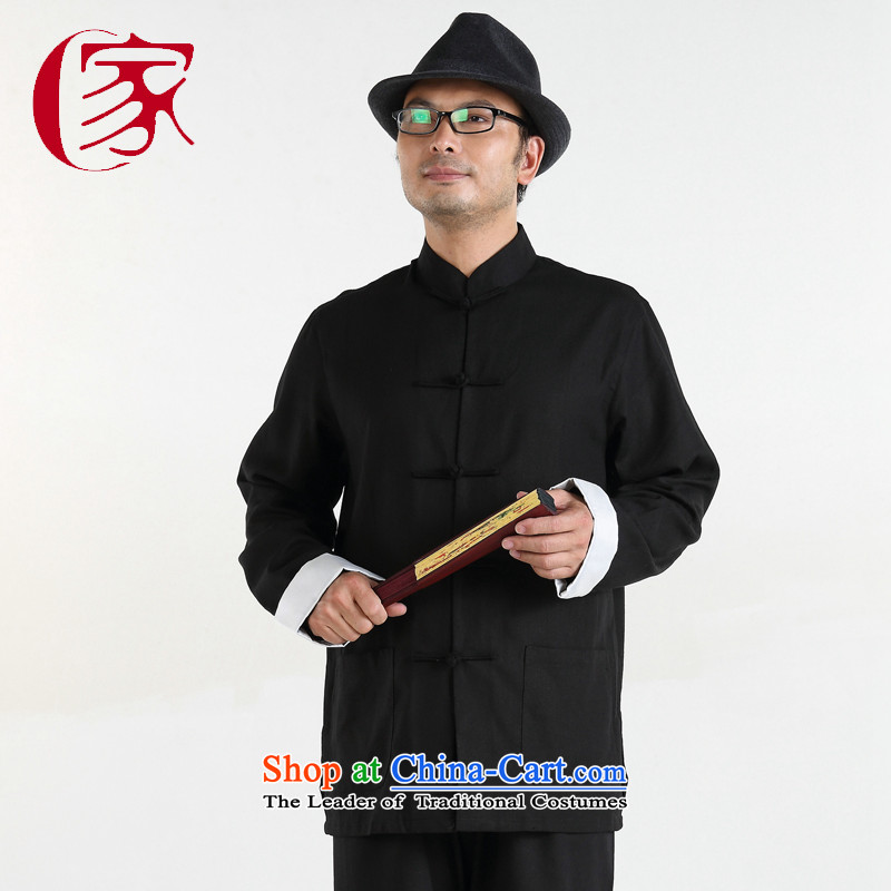 China wind load father gakka Tang replacing men leisure long-sleeved of older persons in the Chinese cotton linen package black 170/88(M) relaxd