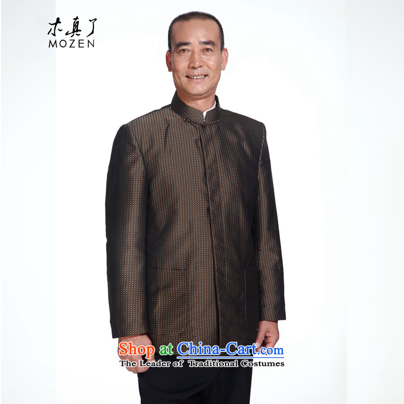 Wooden spring of 2015 really New Men's Mock-Neck Shirt and Tang dynasty Chinese jacket 80514 09 coffee-colored L