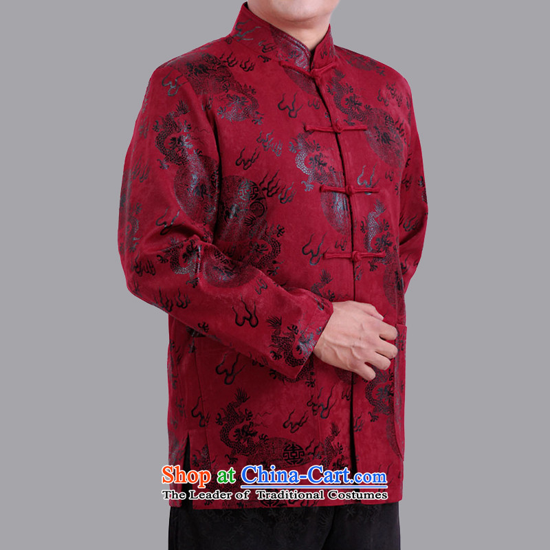 The Cave of the elderly men fall_winter thin cotton long-sleeved liberal Chinese Tang jackets in older men fall short in 1282 Red聽175 yards of cotton folder Winter