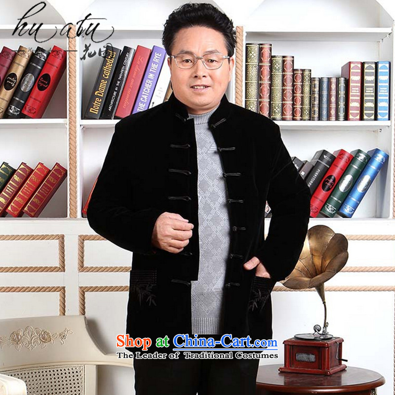 Floral autumn and winter new elderly men Tang Dynasty Kim robe of autumn and winter coats velvet long-sleeved made wedding services black?M
