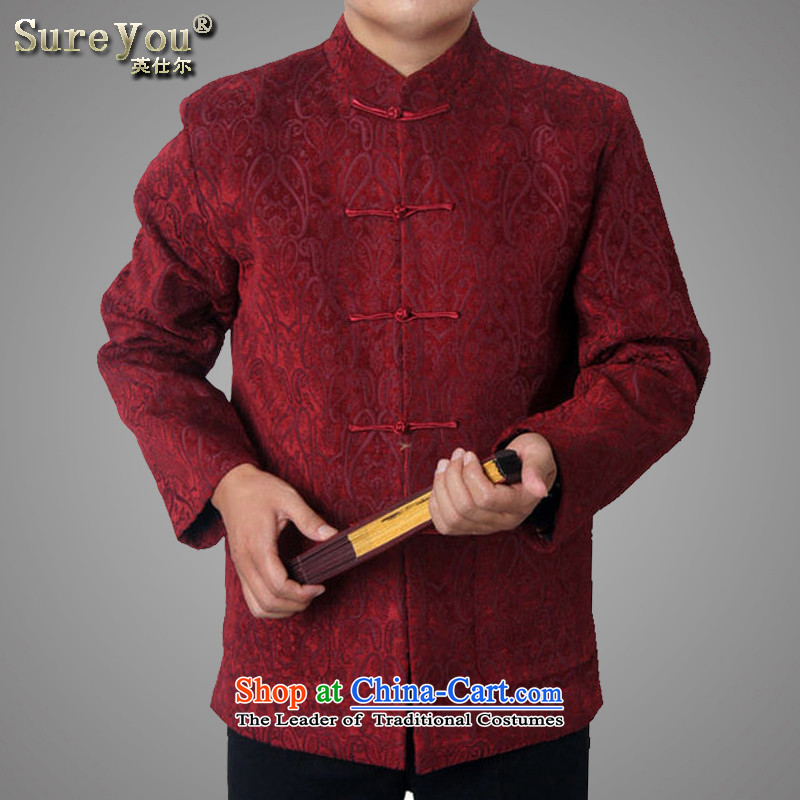 Mr Rafael Hui Ying, 15 new men in autumn and winter older men Tang Dynasty Chinese national dress jacket China wind 1456_ Red?185