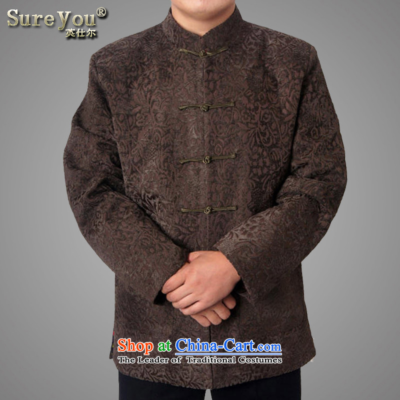 Mr Rafael Hui Ying-mail, package in older men national costumes to Tang dynasty father grandfather autumn and winter 15 new thick long-sleeved brown 1457�180