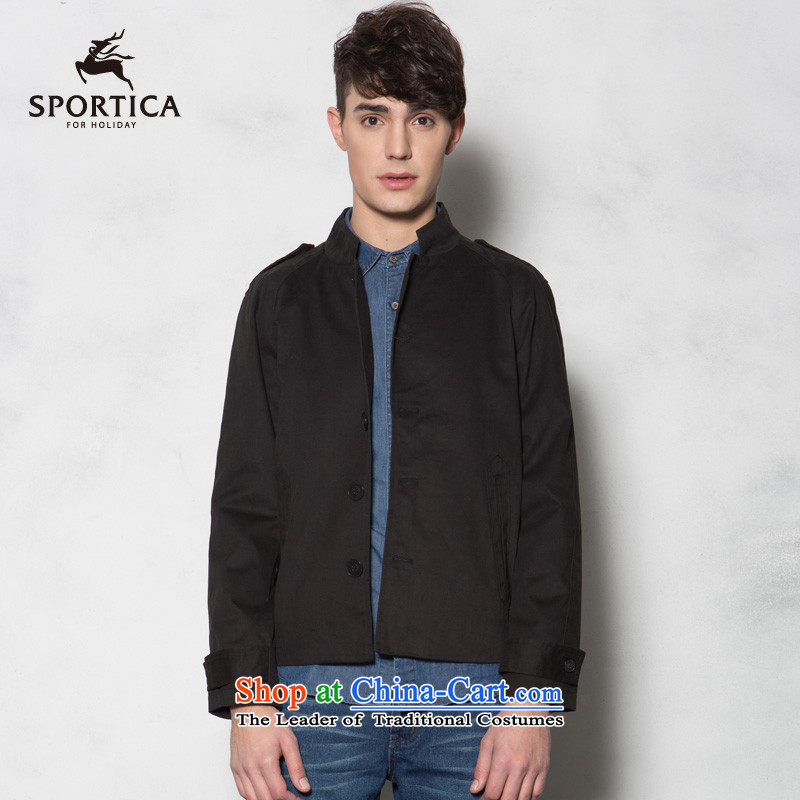 The Dili Card (SPORTICA) thick-combed cotton double jacket coat thin, men?272721 Black?XXL