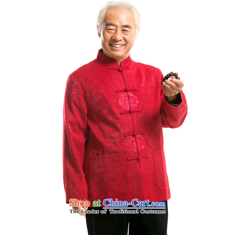 Thre line men and Fall/Winter Collections in the new elderly men embroidery long-sleeved jacket Tang China wind Han-men satin embroidered jacket?F727 TANG??XXXL/190 red