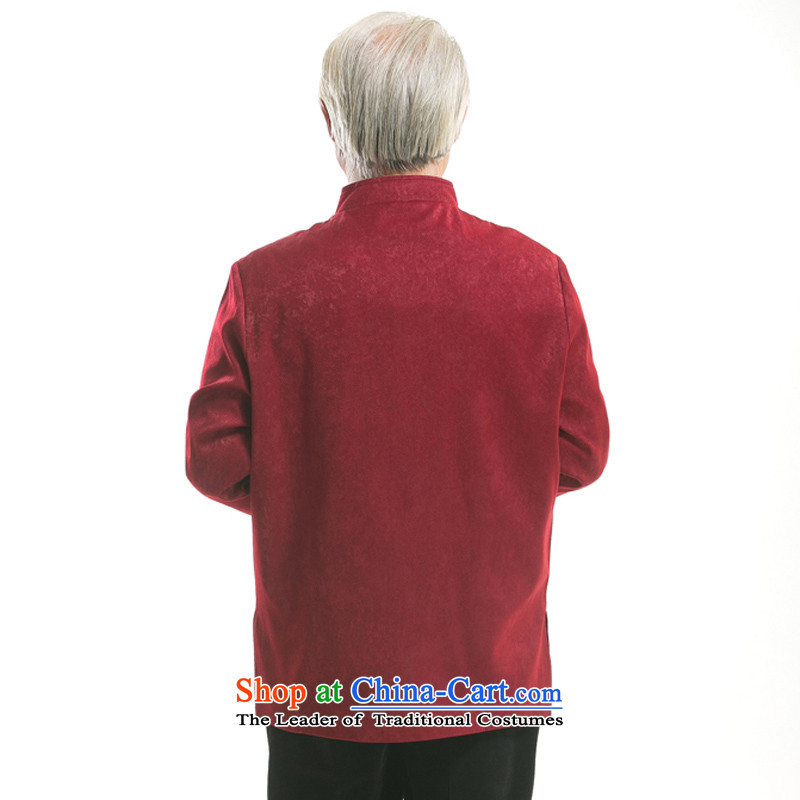 Thre line men and Fall/Winter Collections in the new elderly men embroidery long-sleeved jacket Tang China wind Han-men satin embroidered jacket聽F727 Tang聽聽XXXL/190, Red Line (gesaxing Bosnia and thre) , , , shopping on the Internet