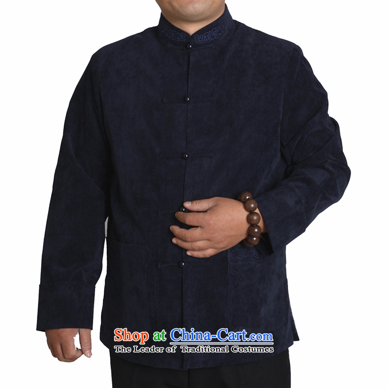 Adam and Eve elderly men fall/winter leisure 15 Tang dynasty solid color embroidery in older upscale male and Tang jackets Y730 dark blue�cotton folder 190 yards, Winter