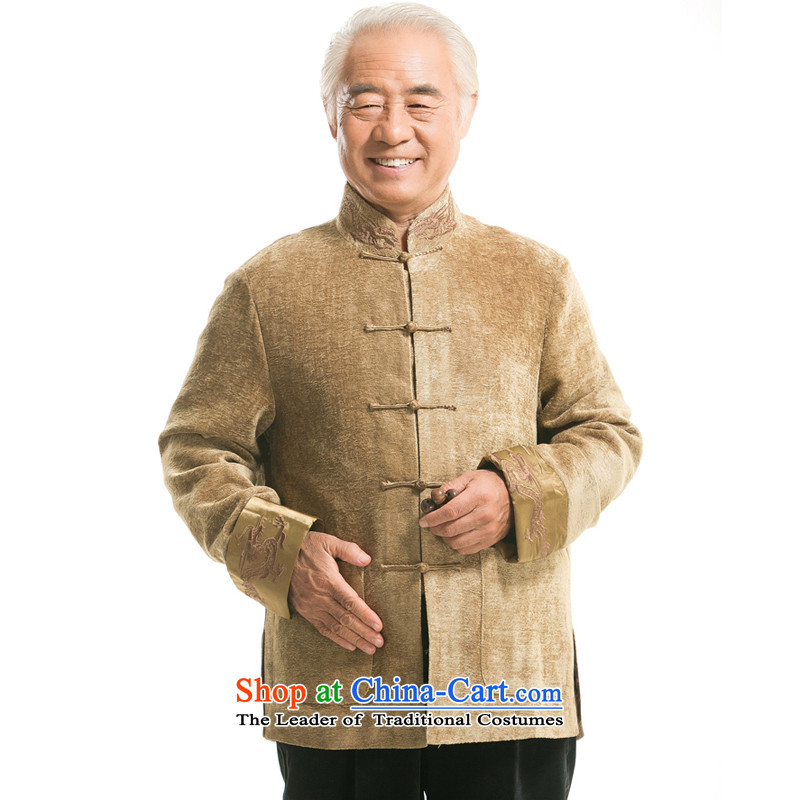 The new genuine autumn and winter in older men's jackets loose embroidery of ethnic Chinese men cuffs embroidery long-sleeved sweater?F0987 LUNG??XXXL/190 yellow