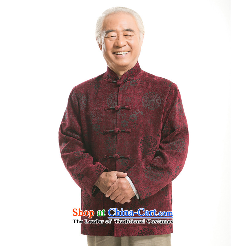 Bosnia and older people in line thre men fall and winter Tang Dynasty Chinese round-long-sleeved sweater of ethnic Chinese collar disc loading Dad Tang detained men F9823 wine red autumn XL/180)