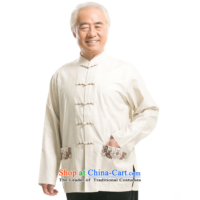 Bosnia and the elderly in the line thre autumn and winter cotton linen Tang Dynasty Men long-sleeved jacket Tang China wind Chinese Men's Mock-Neck tray clip mounted?F0722 dad linen??XXL_185 m White