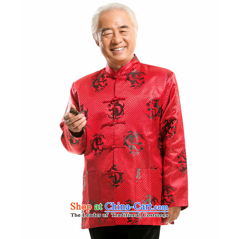 By order of the thre Bosnia and, in particular, the recommended in the Birthday Feast older autumn and winter Tang dynasty China wind Men's Mock-Neck embroidered dragon design long-sleeved sweater father boxed F0756 Red Black Dragon?XL/180