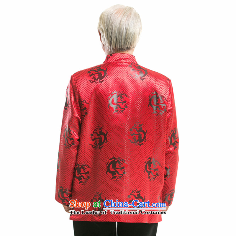By order of the thre Bosnia and, in particular, the recommended in the Birthday Feast older autumn and winter Tang dynasty China wind Men's Mock-Neck embroidered dragon design long-sleeved sweater father boxed F0756 Red Black Dragon聽XL/180, thre line (ges