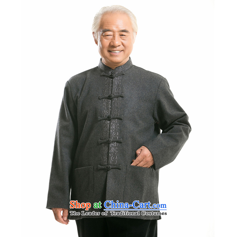 Thre line men and long-sleeved Tang woolen blended wool? Tang Dynasty Fall/Winter Collections in the national costumes of older Han-embroidered jacket F0761 TANG?M/170 Carbon