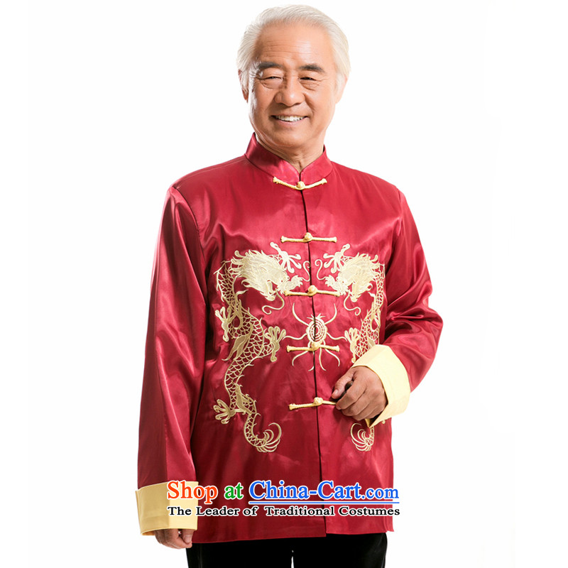 The new line of Bosnia and thre men fall and winter Men's Mock-Neck Tang Dynasty Chinese name side wind in older Ssangyong embroidery Yong-nam will燜 HUANGLONG燤_170 red