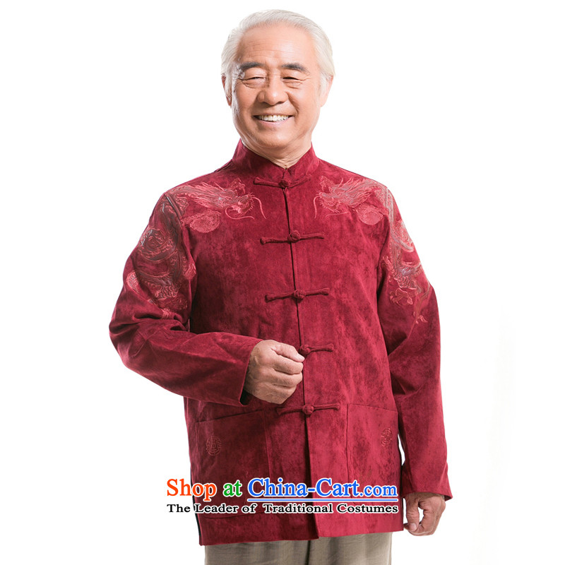 New Howard Young Hearts F0983 tenements in older autumn and winter Tang blouses men Tang red, by order of the Board of the Red XL/180