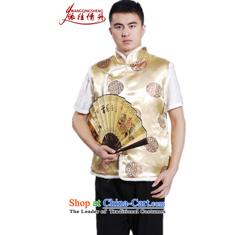 In accordance with the love of older l men fall and winter trendy new products collar embroidered single row clip cotton Tang dynasty boxed father vest?-D# XL
