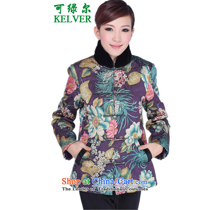 Can Green, older women's autumn and winter trendy new products collar stitching suit MOM Pack Single Row detained retro Tang dynasty�picture color�3XL D/K0007-A# ����