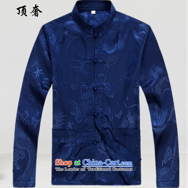 Top Luxury Tang dynasty long-sleeved male new 2015 men's jackets of ethnic disc is older Tang blouses father jacket men Tang dynasty 2039 blue long-sleeved shirt M/170