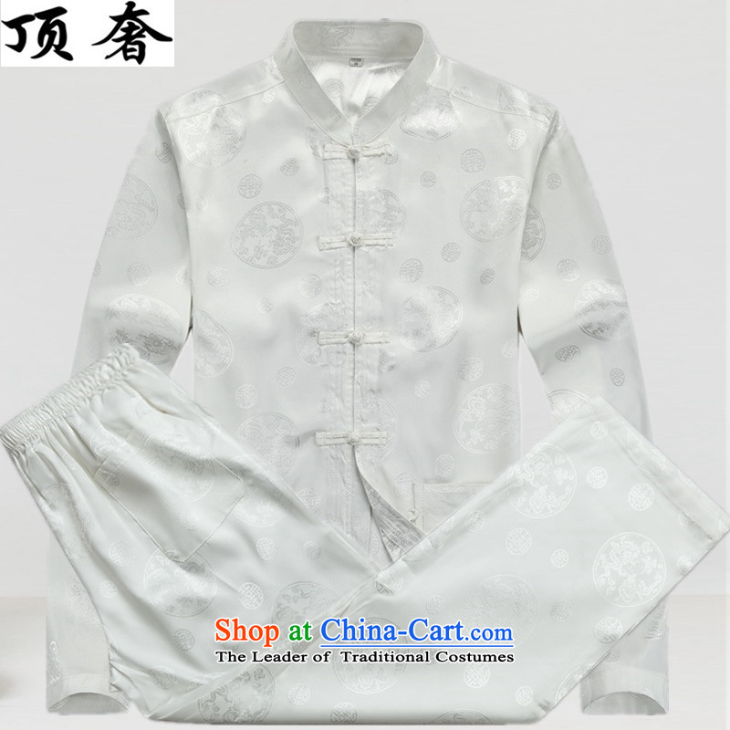 Top Luxury thin, Tang dynasty and long-sleeved聽jacket, sweater in spring and autumn 2015 China wind disc is older men Tang dynasty聽improvements with 806.1_ long-sleeved white kit聽M170