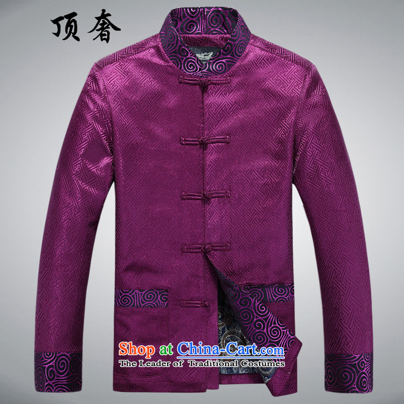 Top Luxury of older men Tang dynasty autumn and winter, thick disk buttoned, ethnic liberal Gold Edition?88021, Han-purple?XXL/180)