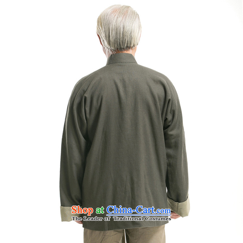 The autumn and winter new and old age are relaxd men's jackets reversible classic collar manually disc detained reversible jacket Chinese Tang dynasty TZ-305 replacing coffee cream dad) thre Bosnia and lines (L/175, gesaxing) , , , shopping on the Interne