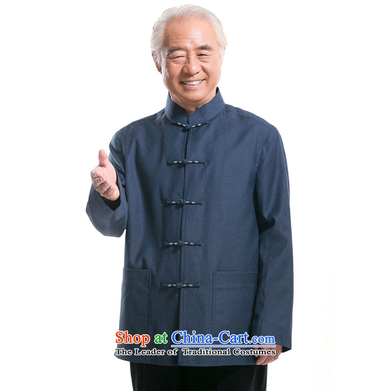 Bosnia and the elderly in the line thre New Men Fall/Winter Collections long-sleeved Tang dynasty China wind men pure color Chinese collar Tang jackets in older disk Tang dynasty F1321 detained Blue?XXXL/190