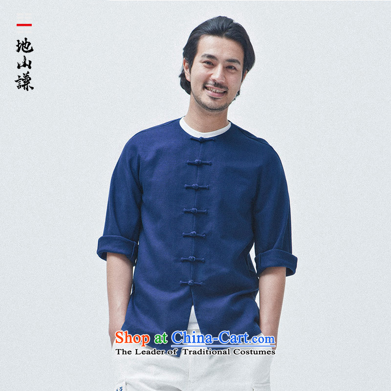 In Shan Abraham China wind cotton linen round-neck collar Zen Chinese Sau San Tong Yi load of 7 in summer  CUFF cuff men Cardigan Blue - round-neck collar fine Extra-sensitive (XS)