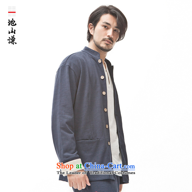 In Shan Abraham China wind coin collar jacket men stylish shirt retro Sau San Chinese Cardigan Zen autumn and winter Blue Mountain Abraham XS, , , , shopping on the Internet
