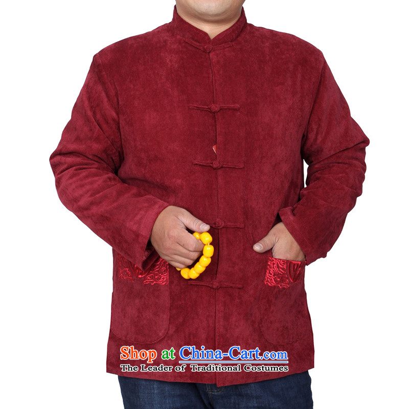 The Cave of the elderly燽y 2015 autumn and winter men folder cotton jacket Tang solid color embroidery and Tang dynasty燦2059 thick 2058 Violet�0