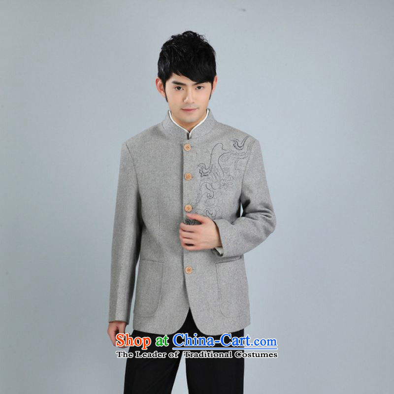 158 Jing men Chinese tunic jacket collar wool? Tang jackets men Tang dynasty long-sleeved sweater gray M