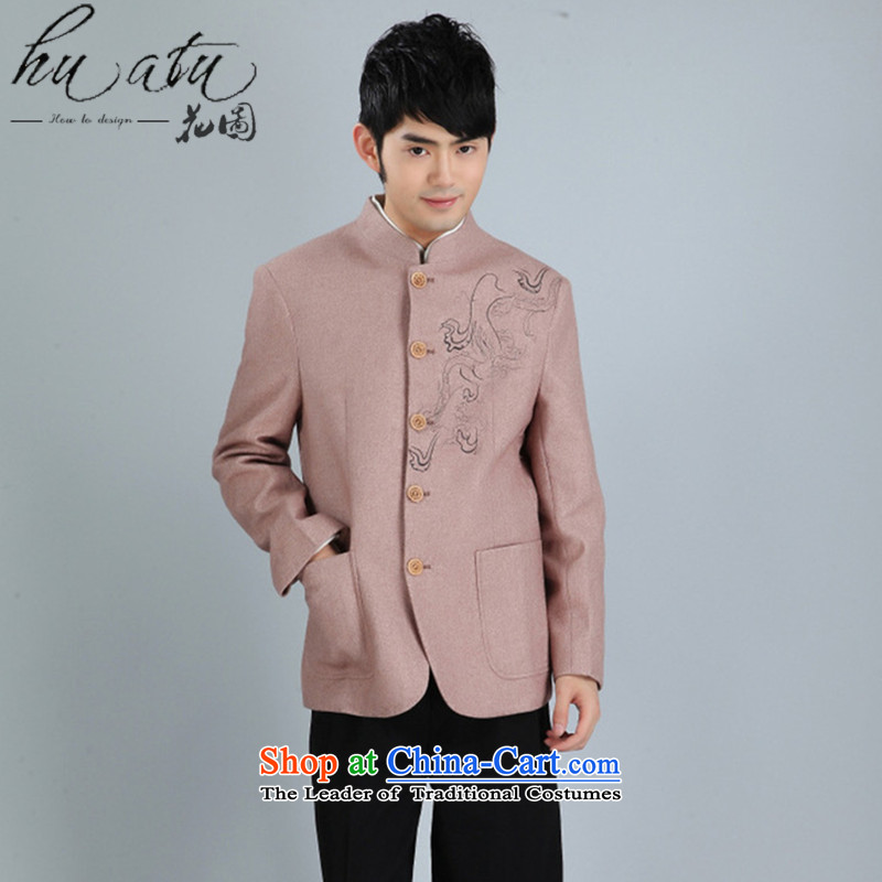Floral autumn and winter New Men Tang Dynasty Chinese tunic collar Korean wool suit services Tang dynasty suit?- 2 brown?XXL