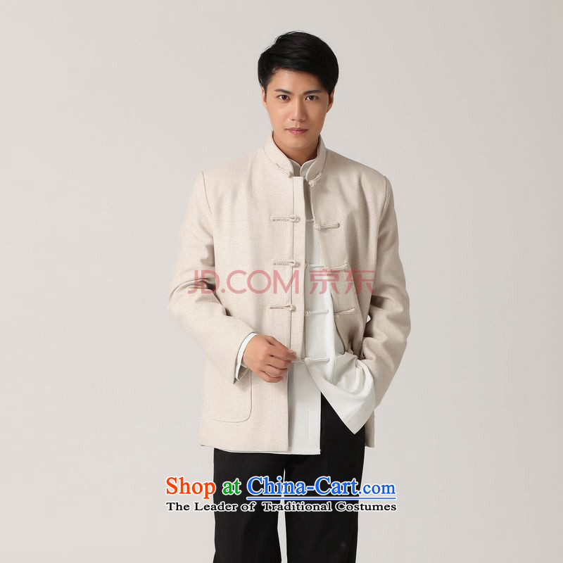 Picking frequency men Tang long-sleeved shirt with Men's Mock-Neck Chinese tunic of ethnic Han-black jacket?- 2 White Tang?L