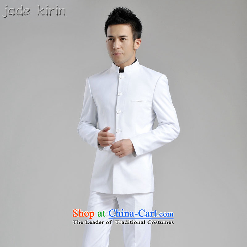 New Chinese tunic male and a mock-neck Chinese people suit white overcoat men retro suits Kit   China wind?ZS120102??165/M/ white pants 30 yards